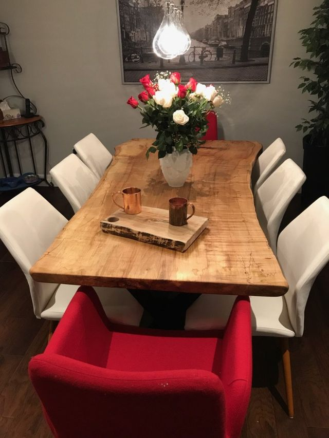Live edge dining table made by Knots & Steel - Ontario.