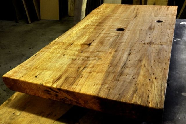 Bathroom vanity counter top made with live edge Maple wood from Ontario, Canada.