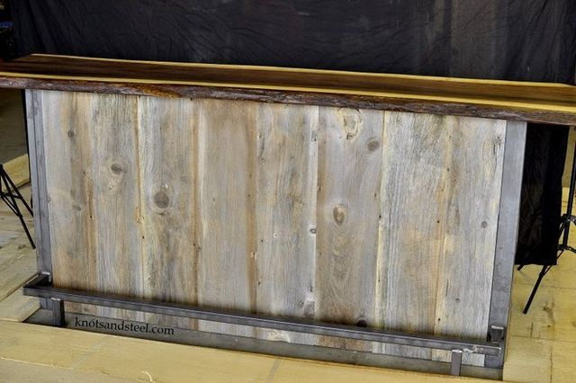Home bar made with walnut,steel and barnboard.