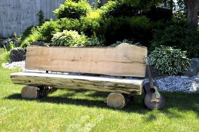 Log bench for the garden