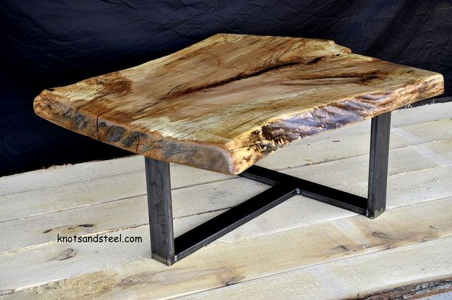 Industrial steel with live edge sugar maple table