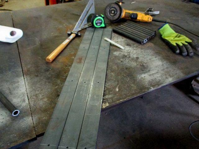 Welding brackets in our shop