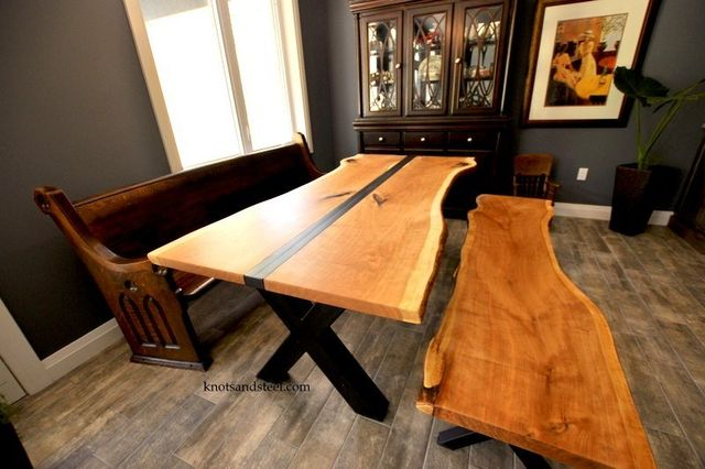 Dining Room Table Made With Live Edge Black Cherry Wood From Local Ontario This