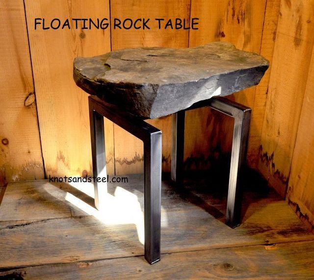 Floating rock industrial metal frame table
