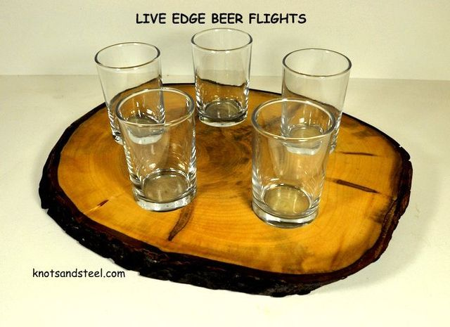 Beer flight made with a live edge wood slice.