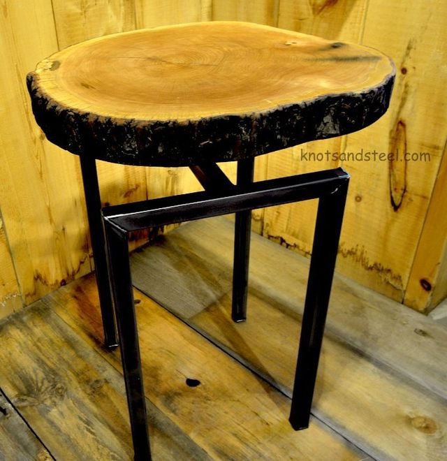Floating live edge decor wood slice table.