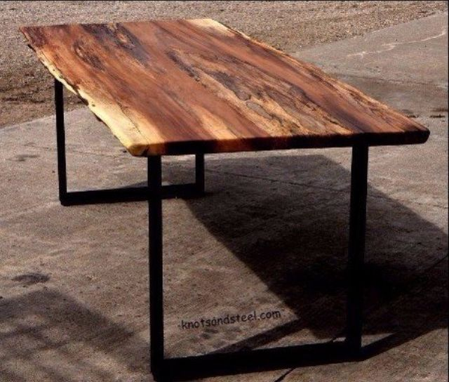 spalted maple live edge dining table with metal  industrial legs