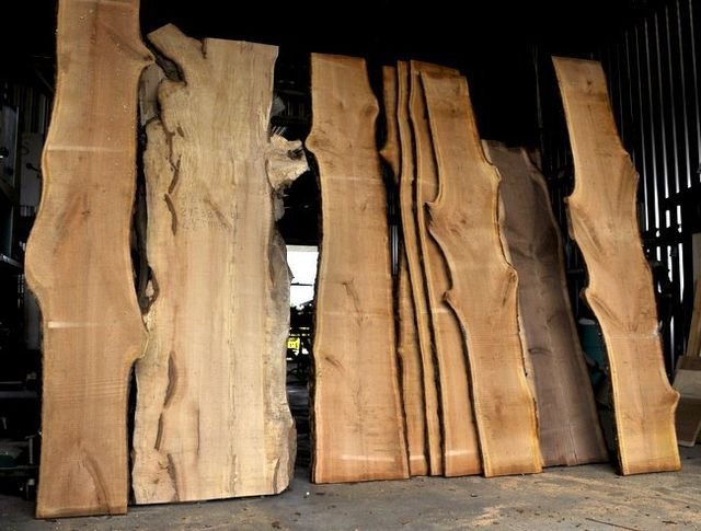 Live edge slabs for rustic furniture.