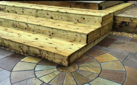 light brown wooden steps
