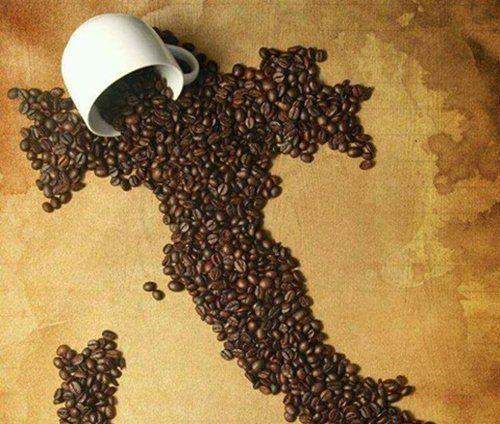 forma dell ` Italia fatta con chicchi di caffe