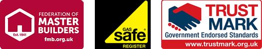 federation of master builders, gas safe, trust mark logos