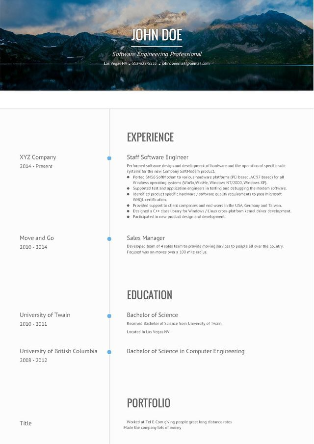 Resume Website Sample