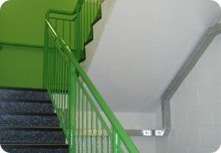 Stair repair - Carnoustie, Angus - Burns Construction (Aberdeen) Ltd - stairs with green railings