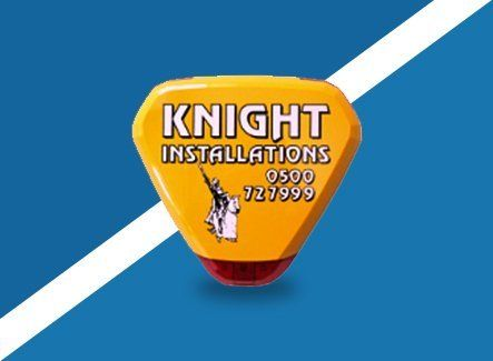 Knight Installations logo on a security light