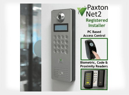 A Paxto Net2 banner and a wall mounted access control system