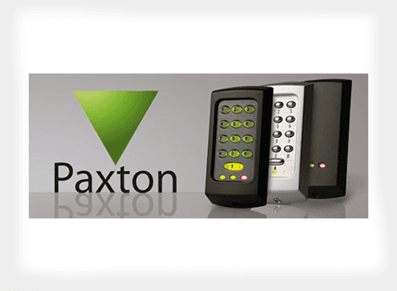 Paxton logo against three security systems