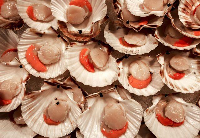 delle capesante in una pescheria