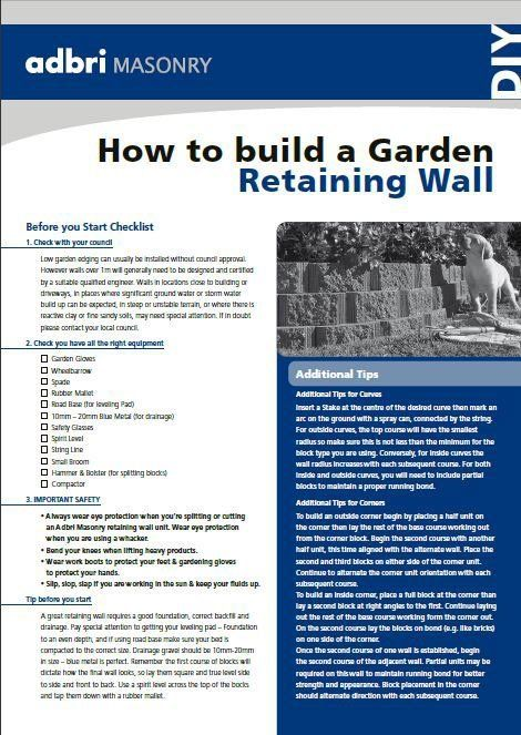 adbri masonry diy retaining wall guide