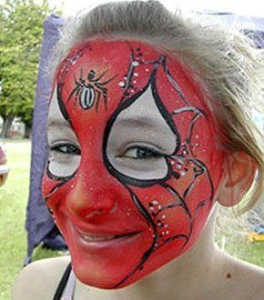 face painted like a spider