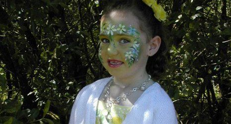 face painted with flowers