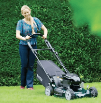 A lady using a black motor-mower