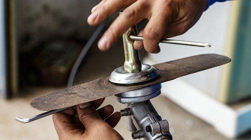 Garden machinery repair in progress