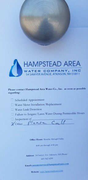 Late Payment/Non-Payment - Hampstead Area Water Company, Inc
