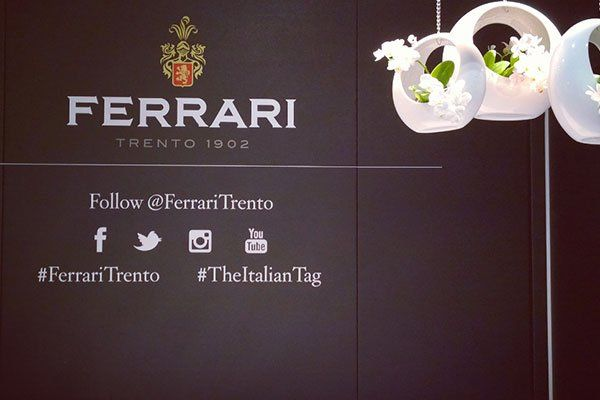 un muro con logo Ferrari e dei vasi a sospensione con i fiori