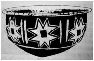 Ceramic culture Prehistoric Qingliangang in China, decorated with the motif the octagonal star