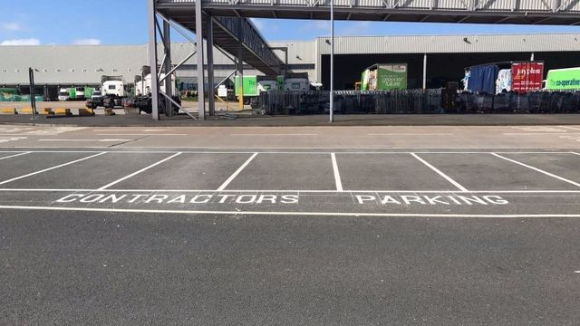 white thermoplastic parking lines