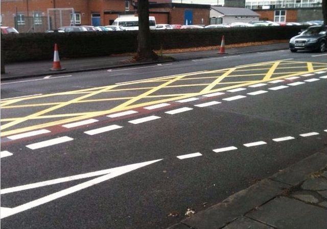 thermoplastic road line markings yellow lines , white lines