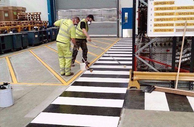 indoor factory pedestrian walkways