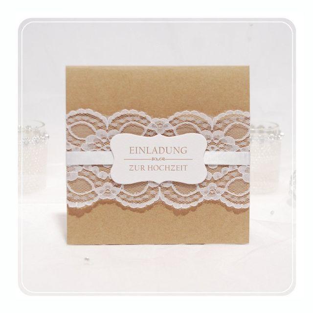 Einladungskarte zur Hochzeit Kraftpapier mit breiter Spitze