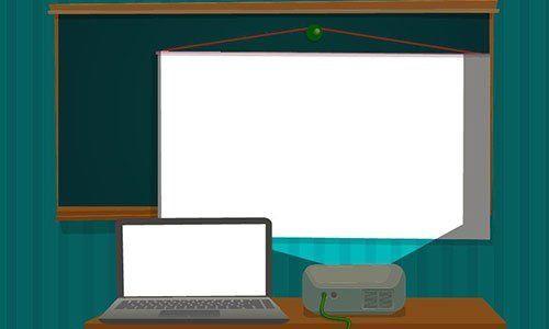 Proiettore multimediale che presenta l'aula