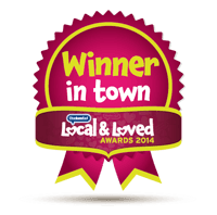 Winner in town logo