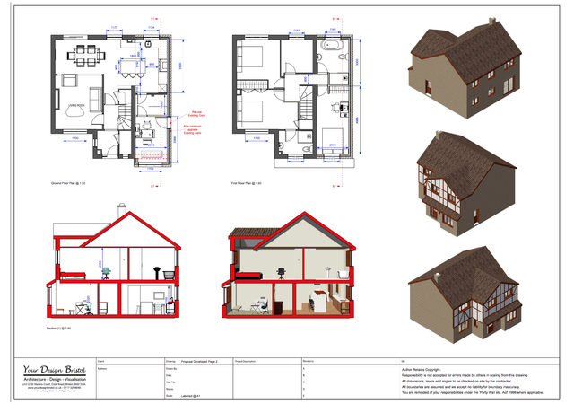 Two Storey Extension Drawings And Visualisation
