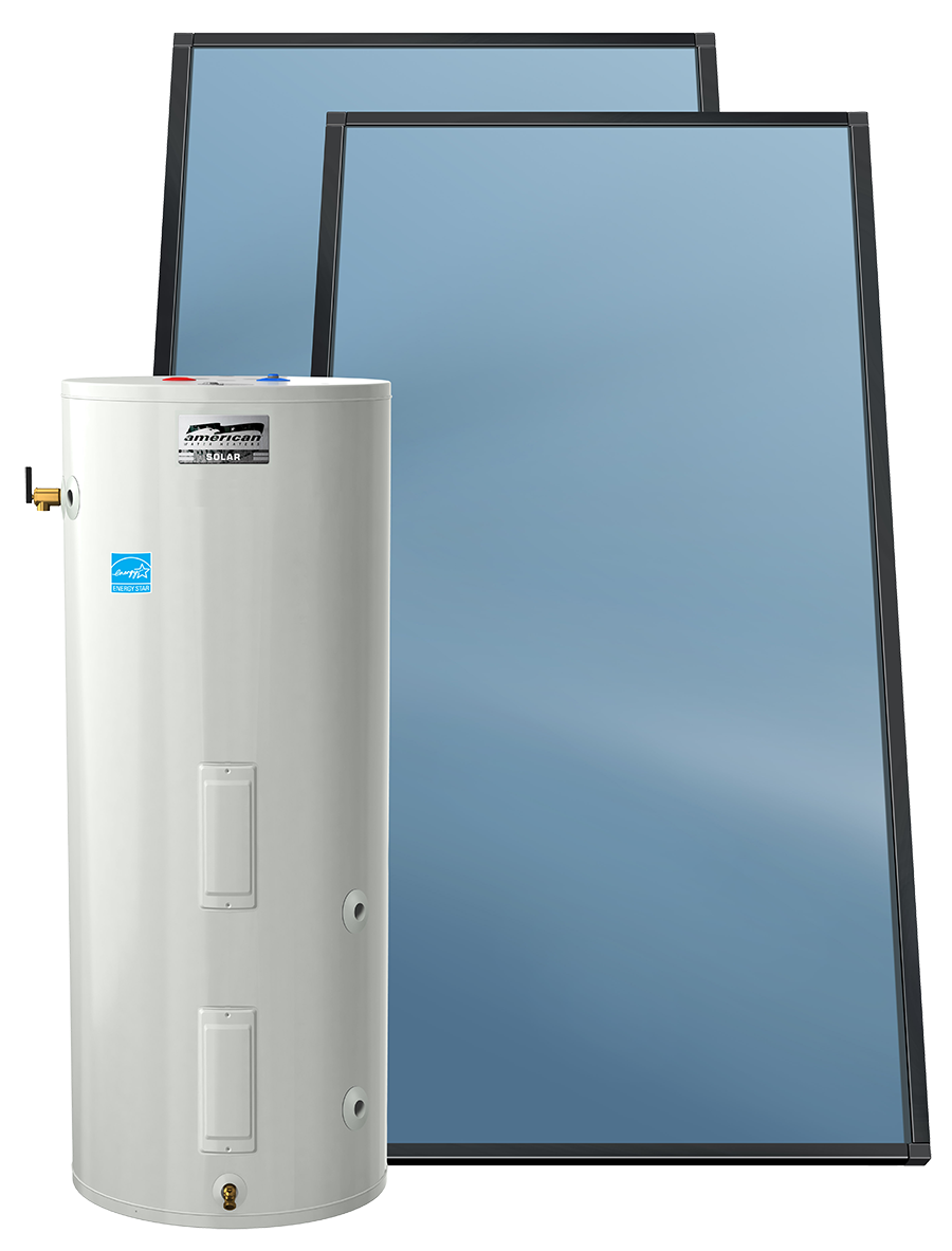 Icon of hot water heater and solar panels
