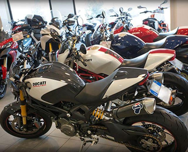 una serie di moto Ducati di diversi colori in esposizione in uno showroom