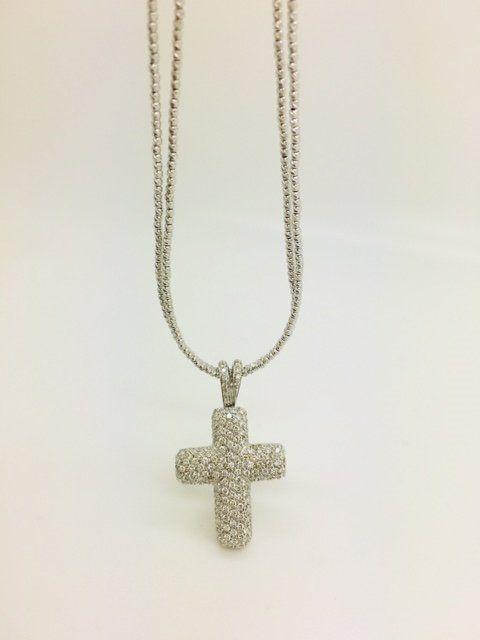 Ciondolo croce in oro bianco 18 kt con pavè di diamanti