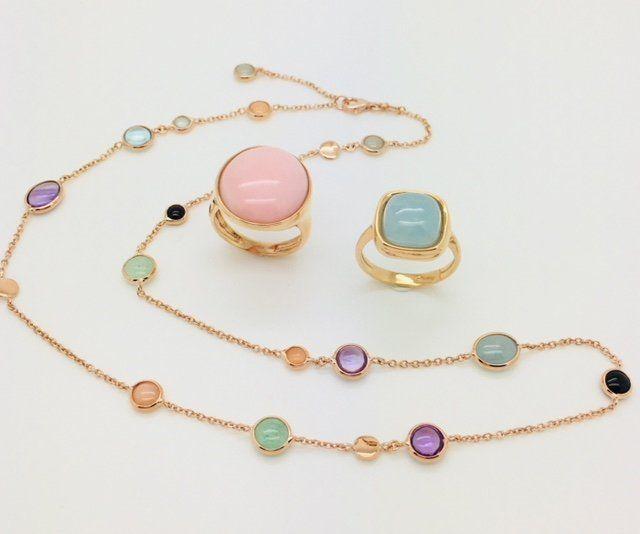 Collana e anelli in oro rosa 18 kt con topazi