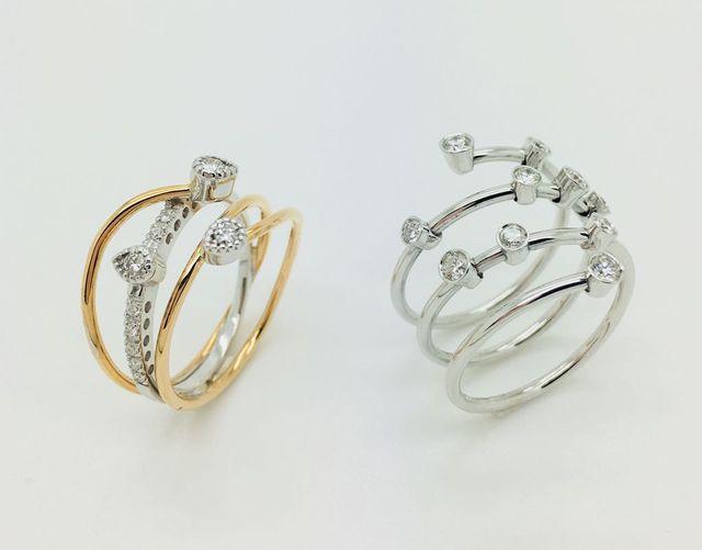 Anelli in oro bianco 18 kt con diamanti