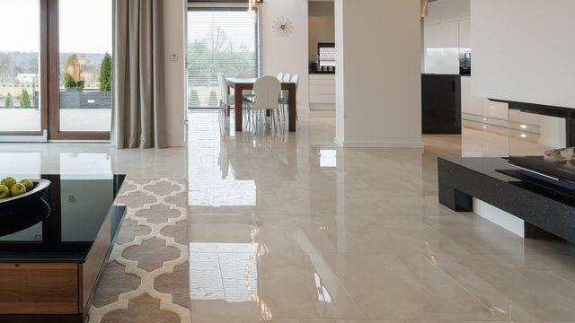 Costoso soggiorno con pavimento in marmo lucido