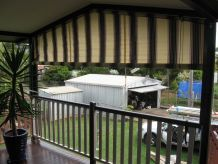 outdoor awning with pulley and cord