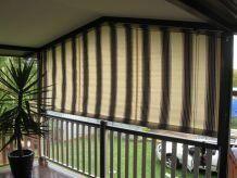 striped awning outside