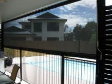 fabric awning by pool