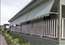 several striped fabric awnings