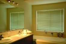 bathroom window with blinds