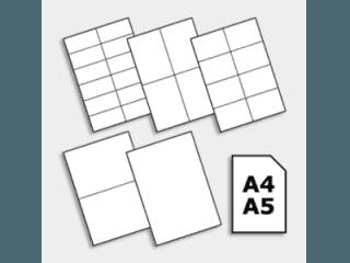 fogli per le etichette di misura A4 A5