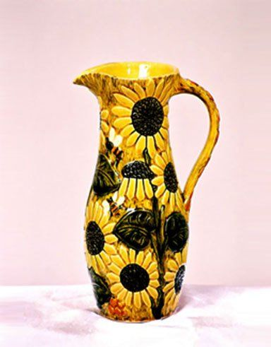 handmade sunflower themed jug