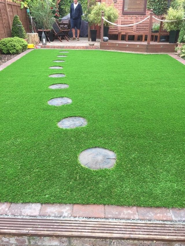artificial lawn and stepping stones